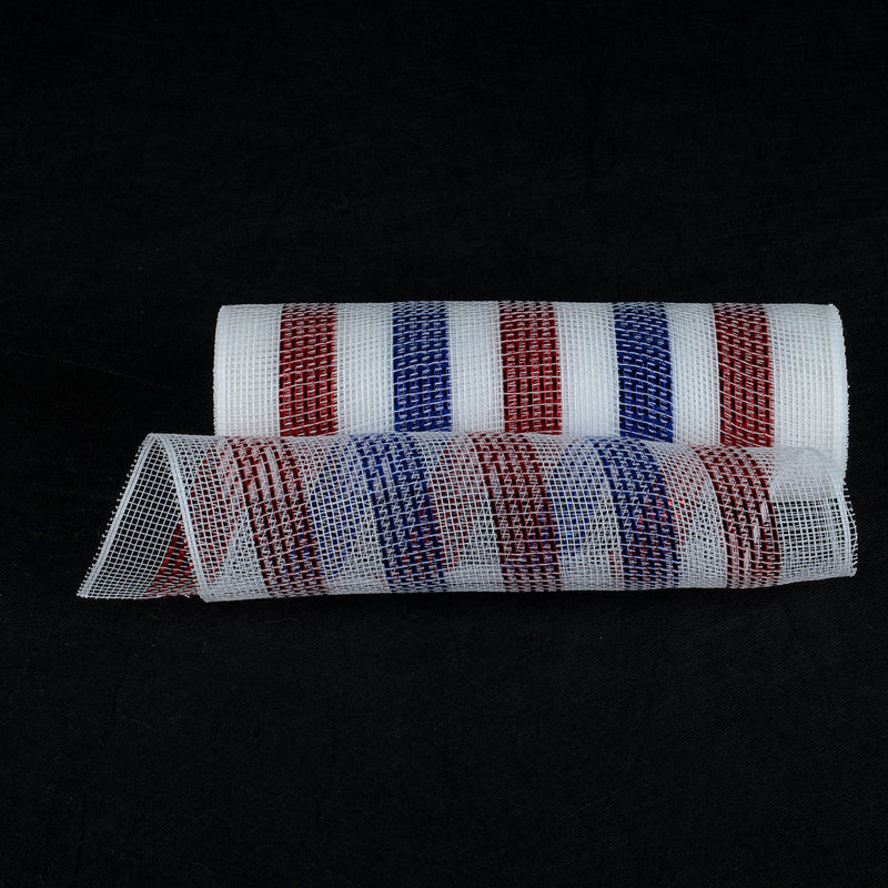 Flag  - Poly Deco Mesh Wrap with Laser Mono Stripe -  ( 10 Inch x 10 Yards )