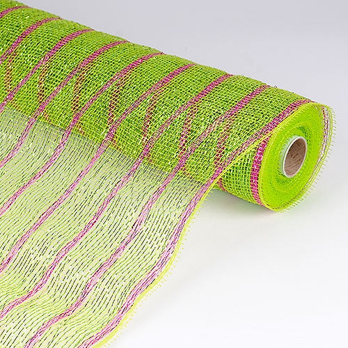 Apple Green with Fuchsia  - Holiday Floral Mesh Wraps -  ( 21 Inch x 10 Yards )