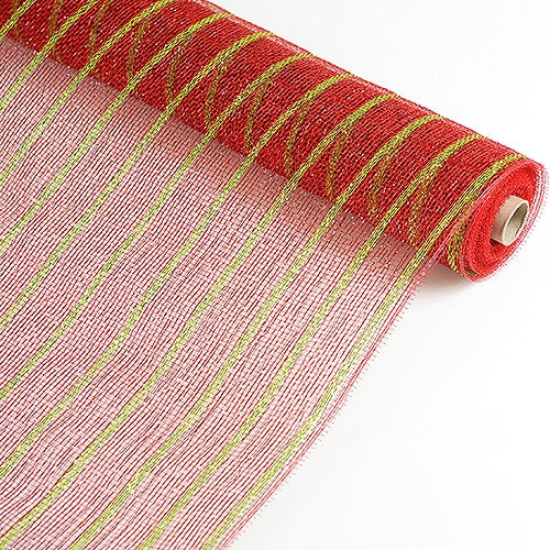 Red with Apple Green Lines  - Holiday Floral Mesh Wraps -  ( 21 Inch x 10 Yards )