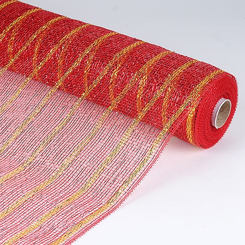 Red Gold  - Holiday Floral Mesh Wraps -  ( 21 Inch x 10 Yards )