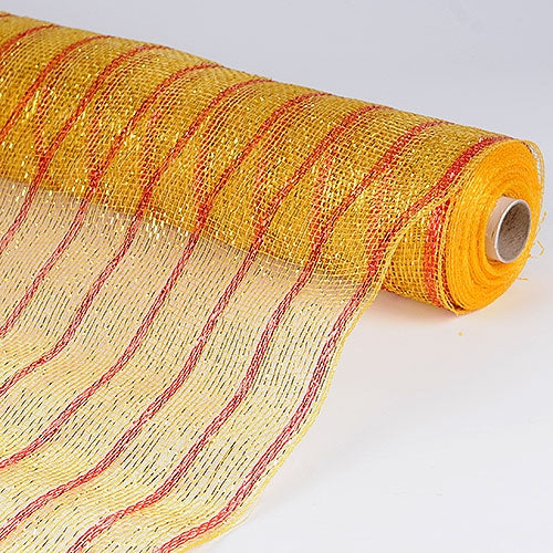 Gold  - Holiday Floral Mesh Wraps -  ( 21 Inch x 10 Yards )