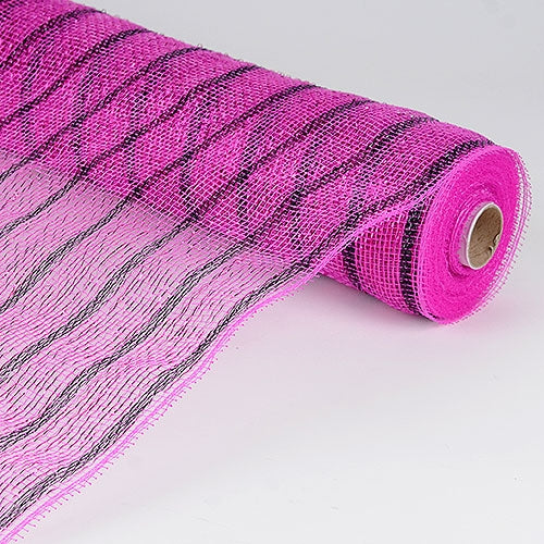 Fuchsia Black  - Holiday Floral Mesh Wraps -  ( 21 Inch x 10 Yards )