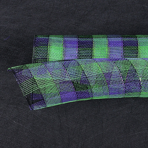 Green Black Purple  - Poly Deco Mesh Wrap with Laser Mono Stripe -  ( 21 Inch x 10 Yards )