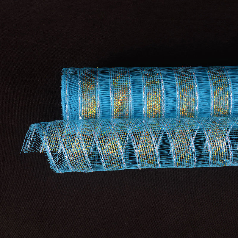 Turquoise - Deco Mesh Eyelash Metallic Stripes - (10 Inch x 10 Yards)