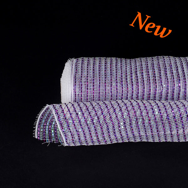 Purple Metallic Stripes Christmas Mesh - 21 Inch x 10 Yards