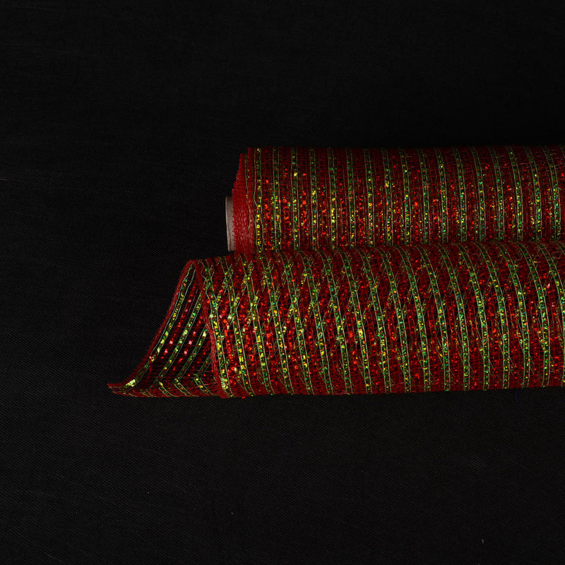 Red Green Christmas Mesh - 10 Inch x 10 Yards