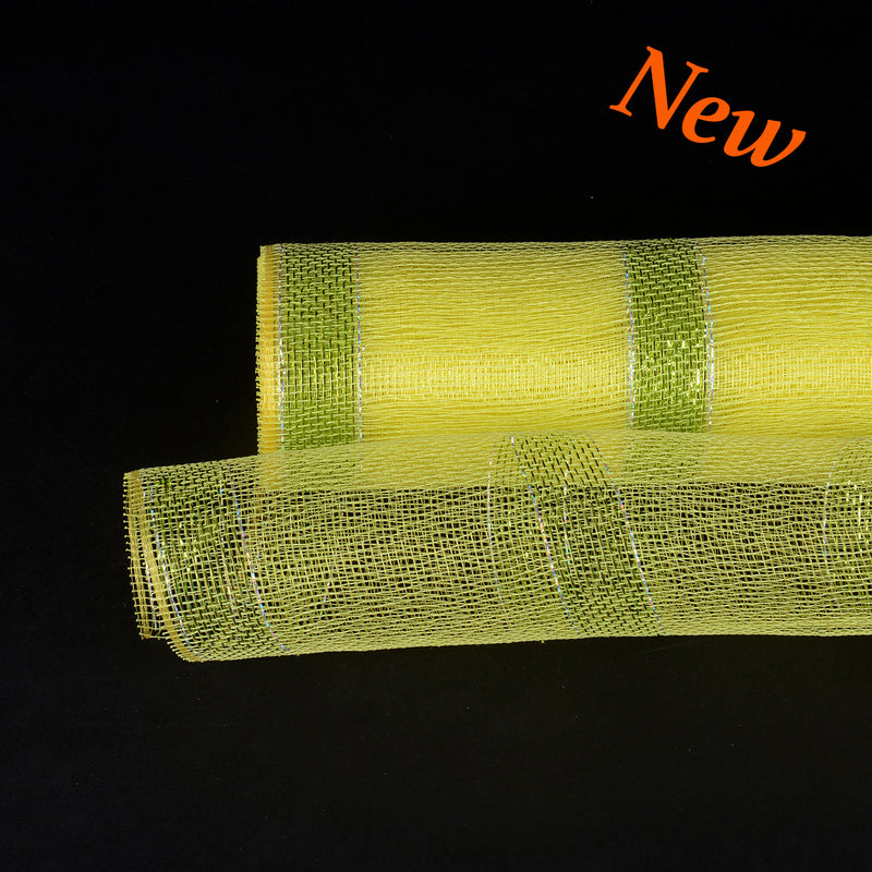 Yellow with Green Lines Christmas Mesh - 21 Inch x 10 Yards