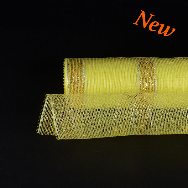 Yellow with Gold Lines Christmas Mesh - 21 Inch x 10 Yards