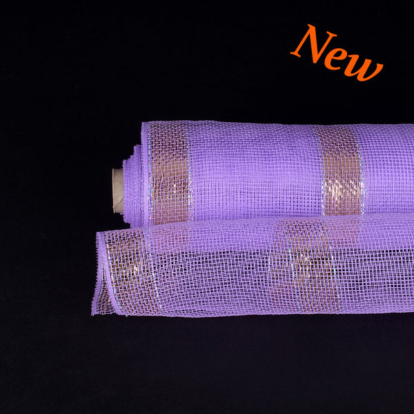 Purple with Gold Lines Christmas Mesh - 21 Inch x 10 Yards