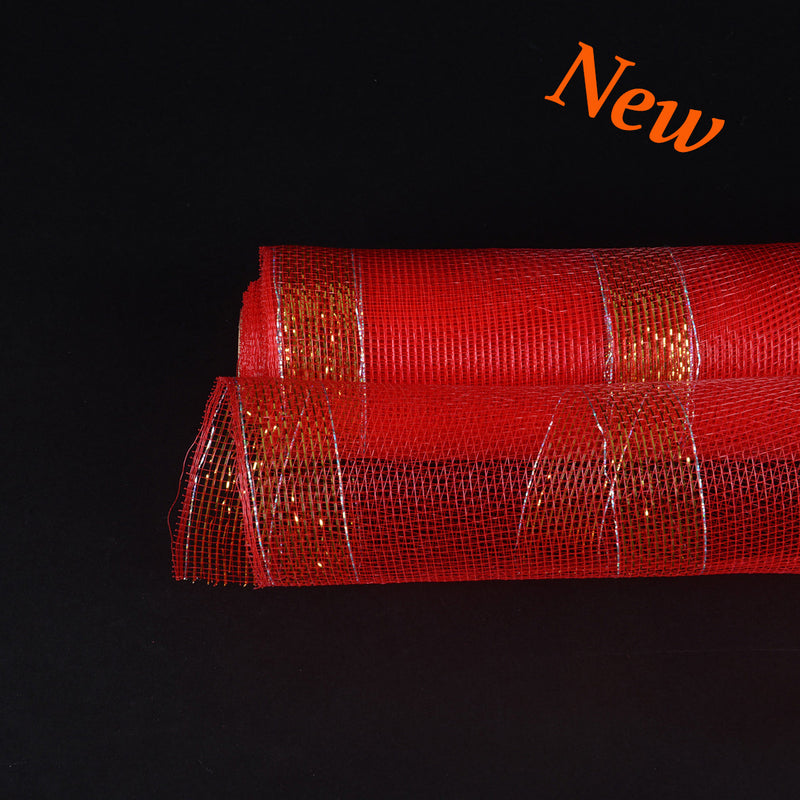Red with Gold Lines Christmas Mesh - 21 Inch x 10 Yards