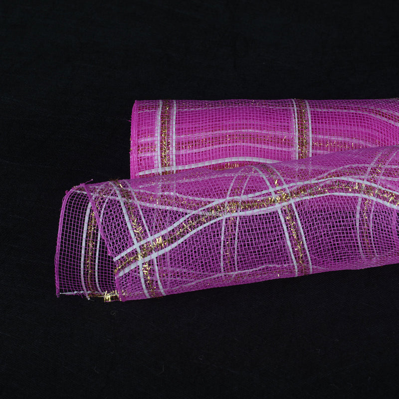 Fuchsia  - Poly Deco Xmas Check Mesh Metallic Stripe -  ( 21 Inch x 10 Yards )