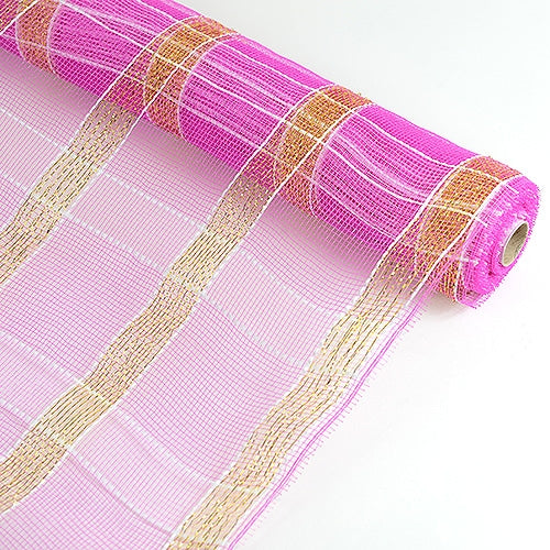 Fuchsia with Gold  - Poly Deco Xmas Check Mesh Metallic Stripe -  ( 21 Inch x 10 Yards )
