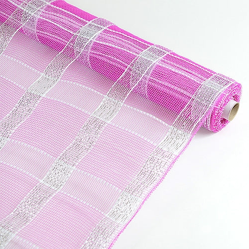 Fuchsia With Silver  - Poly Deco Xmas Check Mesh Metallic Stripe -  ( 21 Inch x 10 Yards )