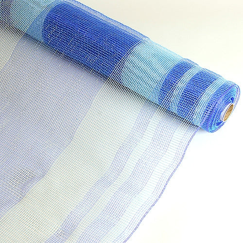 Blue  - Deco Mesh Striped Design -  ( 21 Inch x 10 Yards )