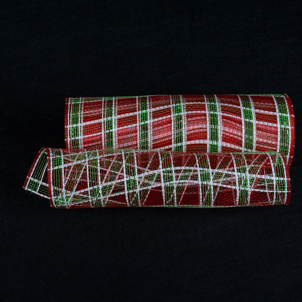 Red Green White Deco Xmas Mesh Metallic Stripe -  ( 10 Inch x 10 Yards )