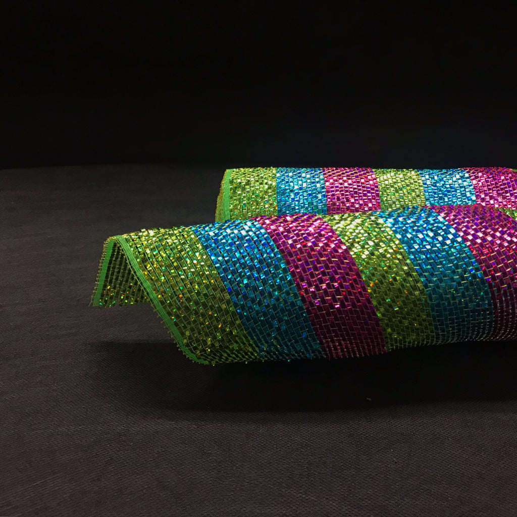 Green Turquoise Fuchsia - Poly Deco Mesh Wrap with Metallic Mono Stripe -  ( 10 Inch x 10 Yards )