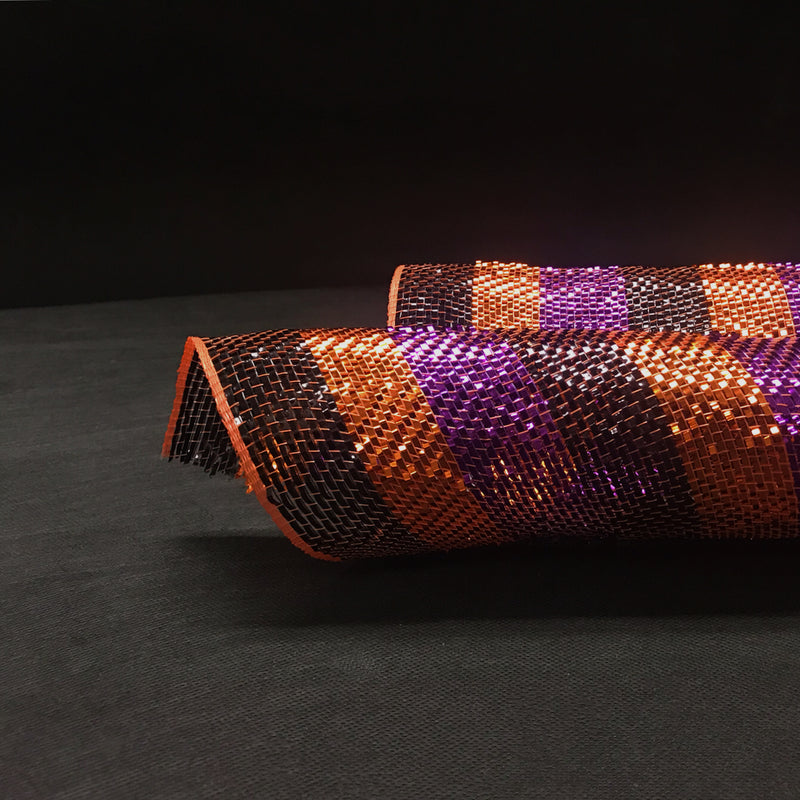 Black Orange Purple Halloween - Poly Deco Mesh Wrap with Metallic Mono Stripe -  ( 10 Inch x 10 Yards )