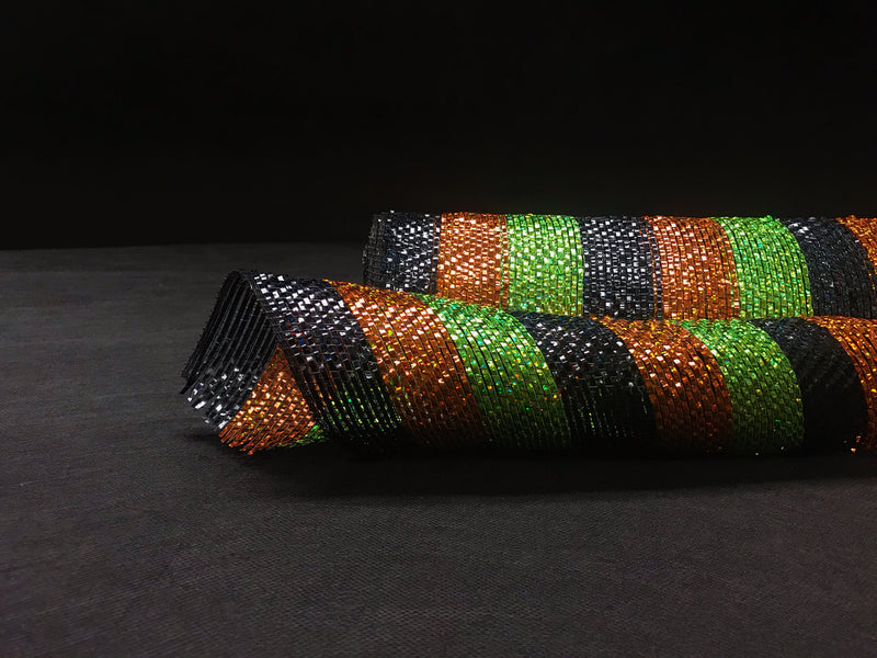 Black Orange Green Halloween - Poly Deco Mesh Wrap with Metallic Mono Stripe -  ( 10 Inch x 10 Yards )
