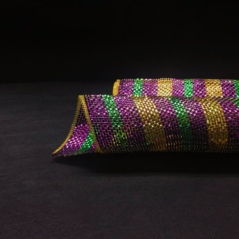 Purple Green Gold Mardi Gras - Poly Deco Mesh Wrap with Metallic Mono Stripe -  ( 10 Inch x 10 Yards )