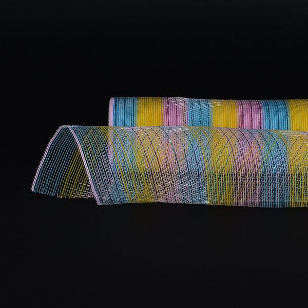 Rainbow - Poly Deco Mesh Wrap with Laser Mono Stripe -  ( 10 Inch x 10 Yards )