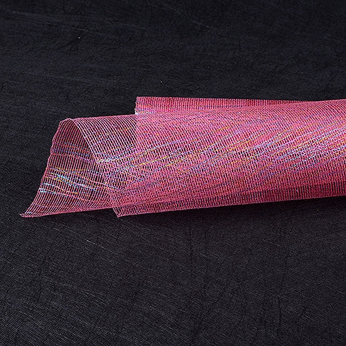 Shocking Pink  - Metallic Thread Mesh Wrap -  ( 21 Inch x 6 Yards )