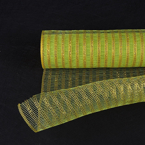 Apple Green with Gold  - Metalic Line Mesh -  ( 21 Inch x 10 Yards )