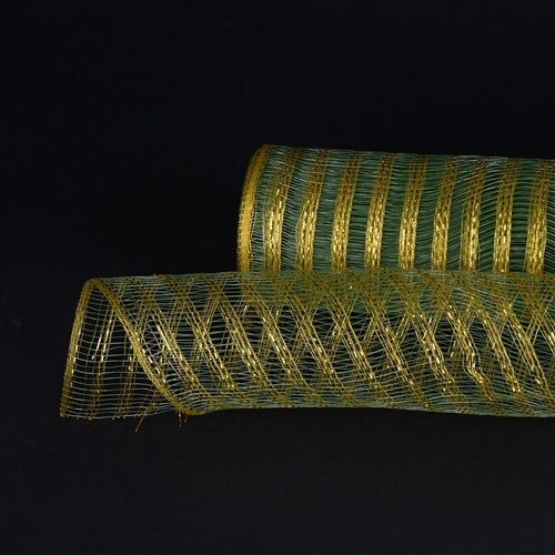 Moss with Gold  - Metallic Line Mesh Wrap -  ( 21 Inch x 10 Yards )