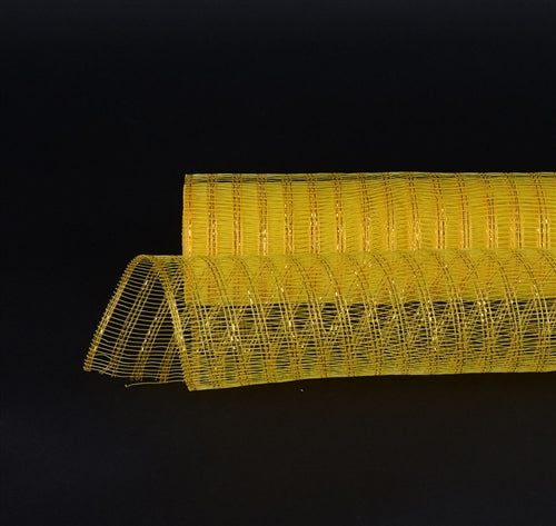 Yellow  - Metallic Line Mesh Wrap -  ( 21 Inch x 10 Yards )