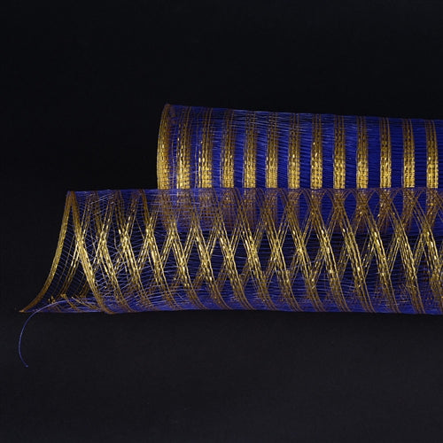 Royal Blue with Gold  - Metallic Line Mesh Wrap -  ( 21 Inch x 10 Yards )
