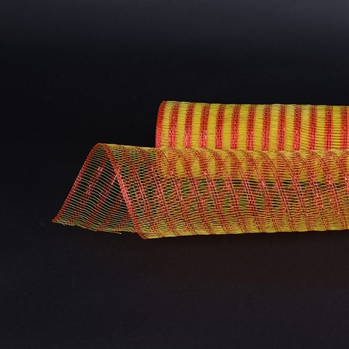 Yellow with Red  - Metallic Line Mesh Wrap -  ( 21 Inch x 10 Yards )