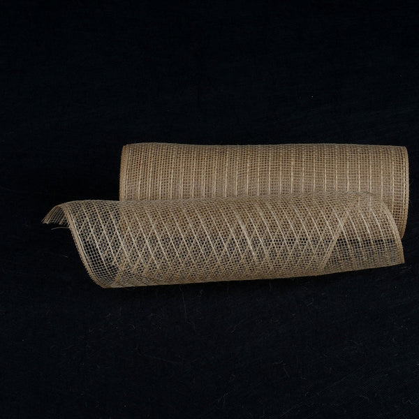 Natural Burlap Christmas Deco Mesh With Natural Burlap Stripes - 10 Inch x 10 Yards