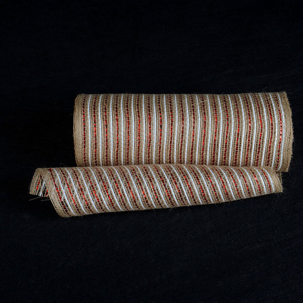 Natural Burlap Christmas Deco Mesh With Red White Stripes - 10 Inch x 10 Yards