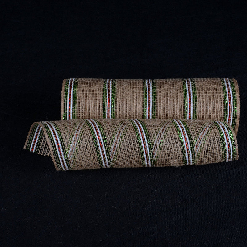 Natural Burlap Deco Mesh With White Red Green Metallic Stripes - 10 Inch x 10 Yards