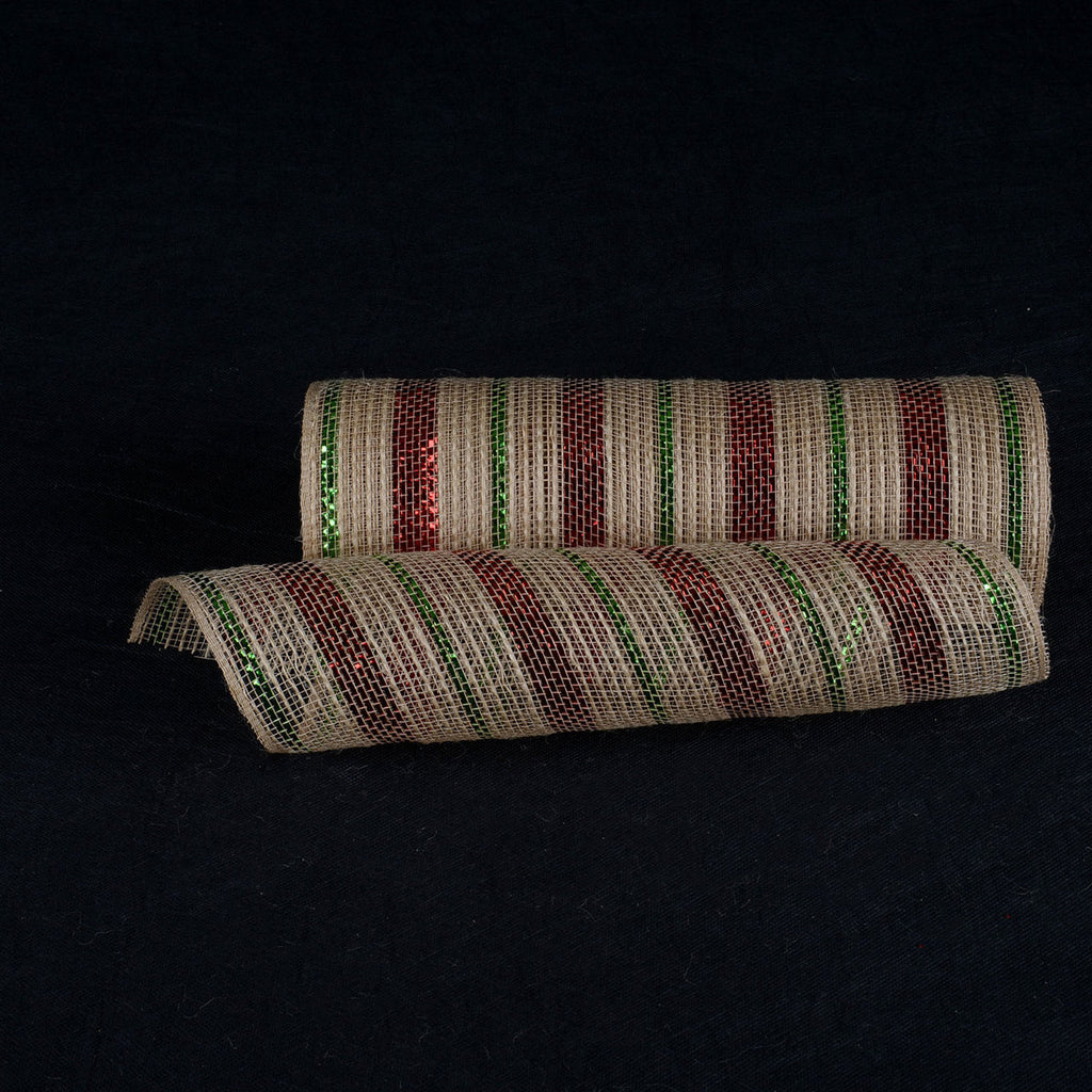 Natural Burlap Deco Mesh With Red Green Metallic Stripes - 10 Inch x 10 Yards