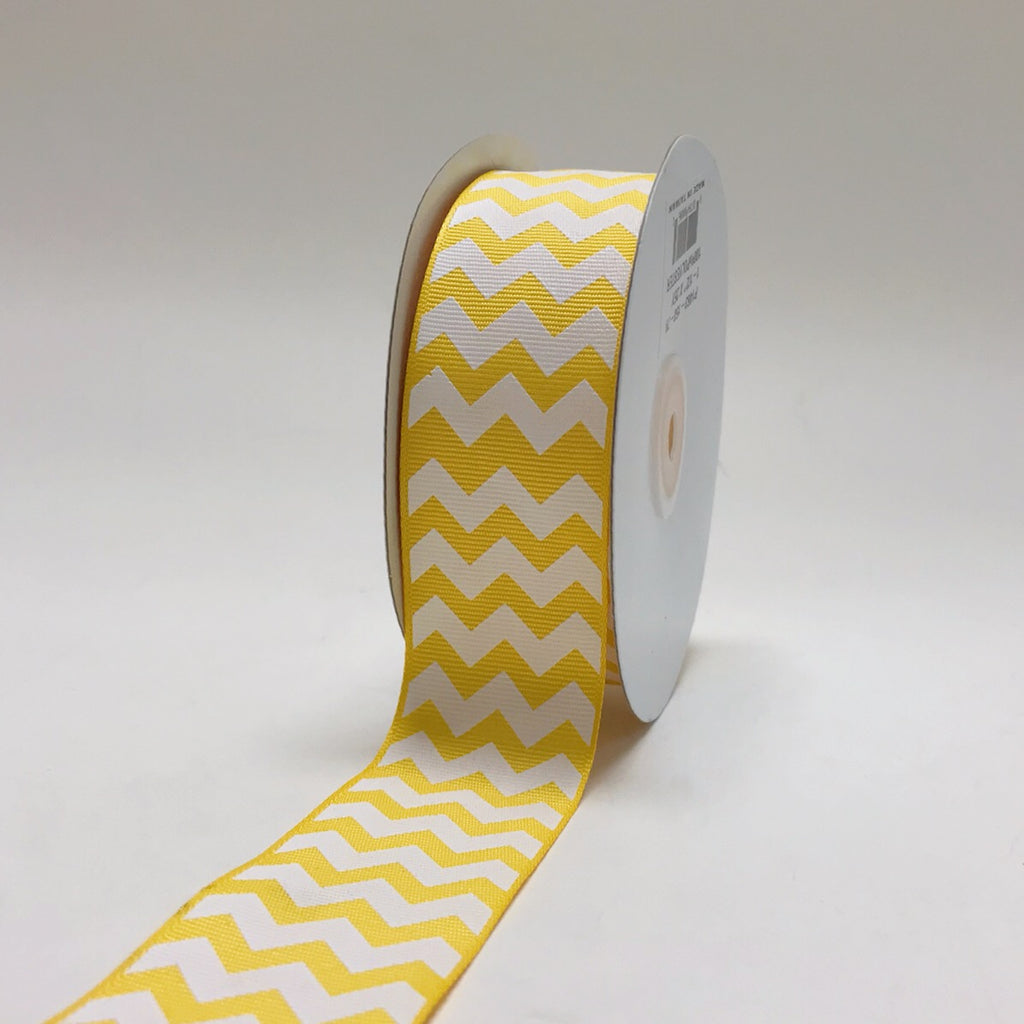 Yellow - Chevron Design Grosgrain Ribbon ( 1-1/2 inch | 25 Yards )