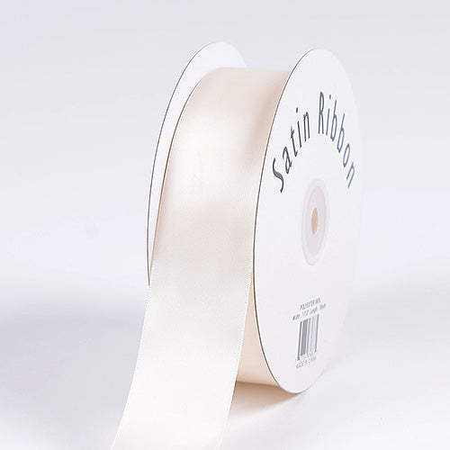 Antique White - Satin Ribbon Single Face  - ( 1-1/2 inch | 50 Yards )