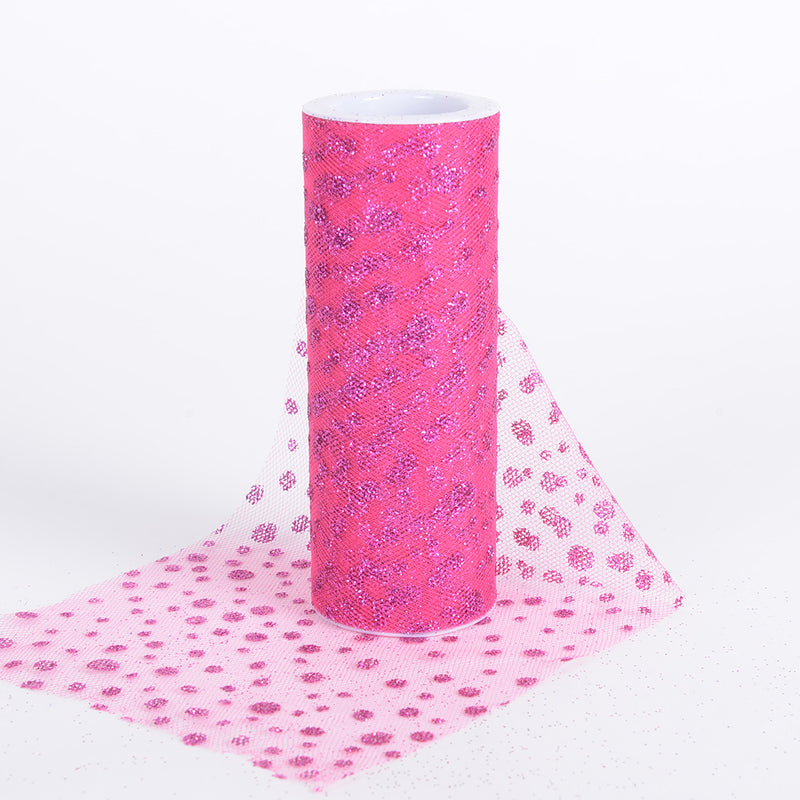 Fuchsia - 6 Inch x 10 Yards Sparkle Dot Tulle - ( W: 6 Inch | L: 10 Yards )