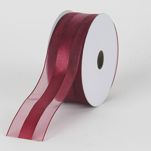 Burgundy - Organza Ribbon Satin Center - ( W: 5/8 inch | L: 25 Yards )