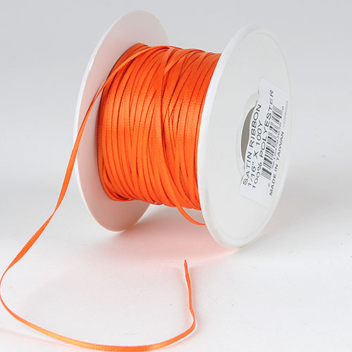 Orange - Satin Ribbon 1/16 x 100 Yards - ( W: 1/16 inch | L: 100 Yards )