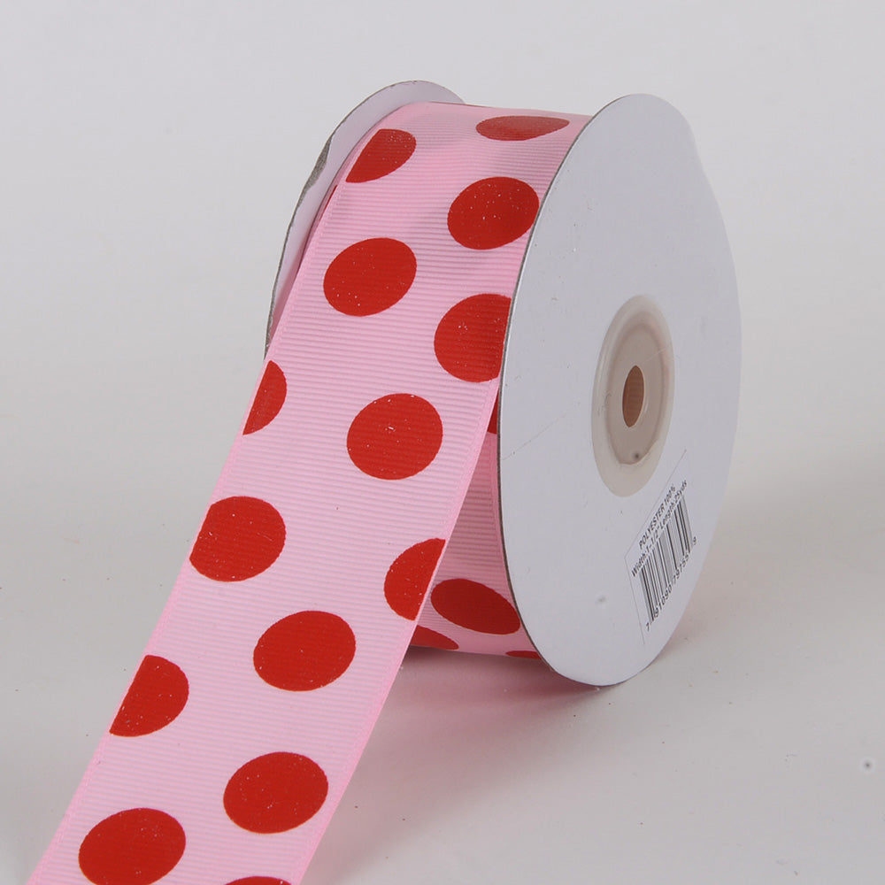 Grosgrain Ribbon Jumbo Dots Pink with Red Dots ( W: 1-1/2 inch | L: 25 Yards )