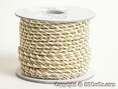 Petite Metallic Cord Ivory with Gold Sparkle ( 3mm )