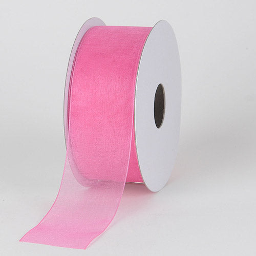 Hot Pink - Sheer Organza Ribbon - ( 1-1/2 inch | 25 Yards )