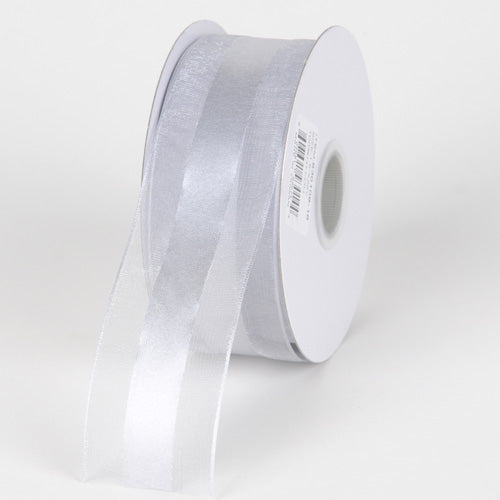 Silver - Organza Ribbon Satin Center - ( 1-1/2 inch | 25 Yards )