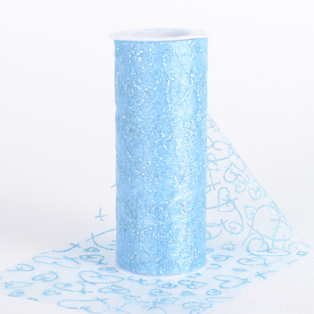 Light Blue - 6 Inch Glitter Hearts Organza Roll - ( W: 6 Inch | L: 10 Yards )