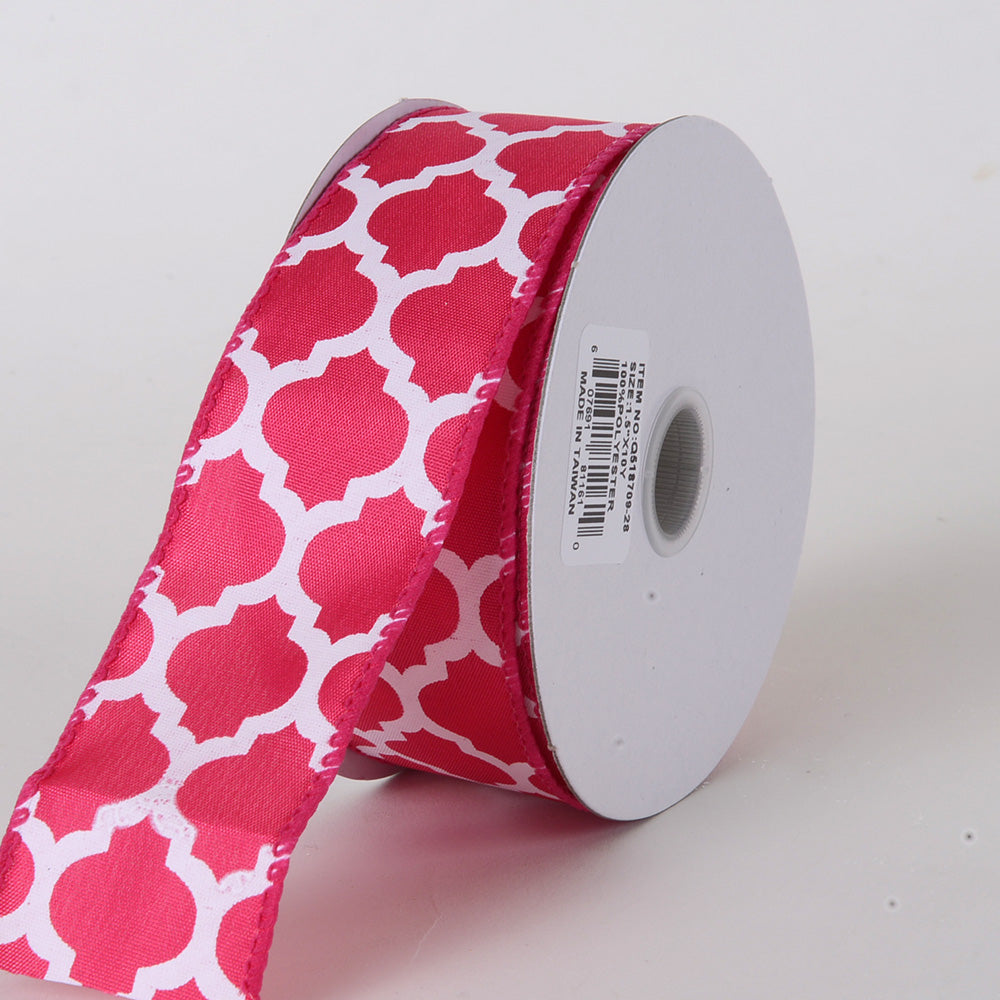Fuchsia - Satin Ribbon Large Quatrefoil Print - ( W: 1-1/2 inch | L: 10 Yards )