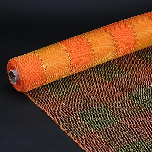 Orange  - Christmas Mesh Wraps -  ( 21 Inch x 10 Yards )