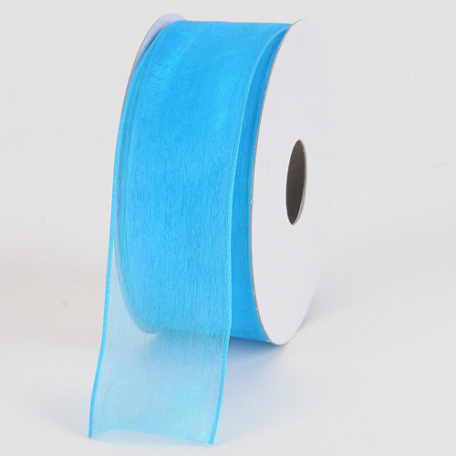 Turquoise - Organza Ribbon Thin Wire Edge 25 Yards - ( 1-1/2 inch | 25 Yards )