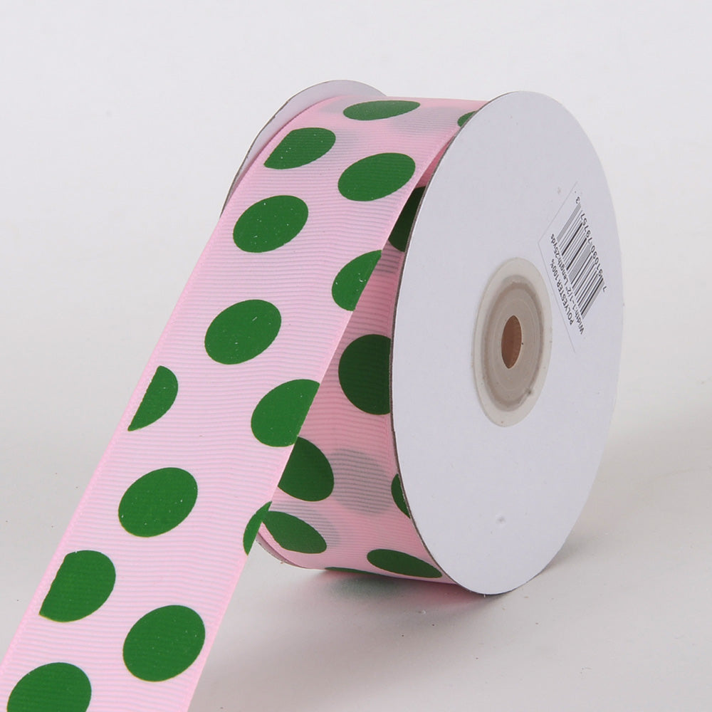 Grosgrain Ribbon Jumbo Dots Pink with Emerald Dots ( W: 1-1/2 inch | L: 25 Yards )
