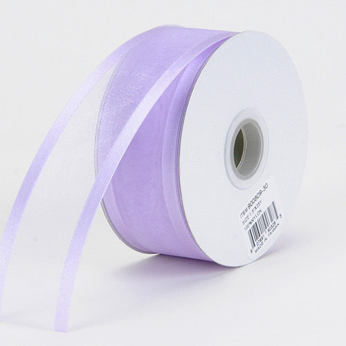 Lavender - Organza Ribbon Two Striped Satin Edge - ( 1-1/2 inch | 25 Yards )