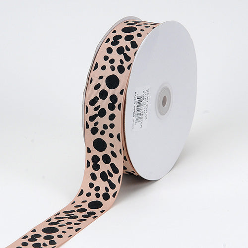 Tan - Grosgrain Ribbon Dalmatian Dots - ( W: 1-1/2 inch | L: 50 Yards )